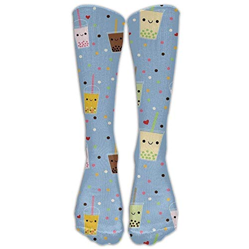 SDGSS Tube Knee High Socks Long 19.7inch/50cm Happy Boba Bubble Tea High Dress Socks Sport Comfortable Breathable Over-The-Calf Tube
