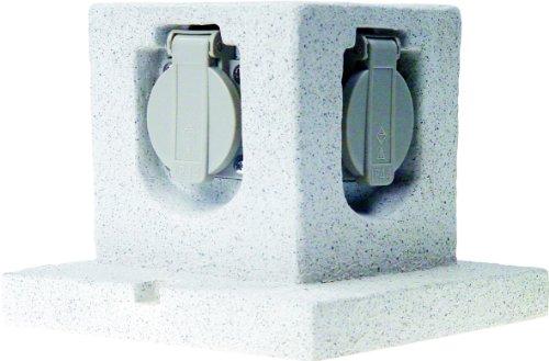 Smartwares GL40 Steingarten-Steckdosenleiste - 4 geerdete Dosen - 3 Meter Neoprenkabel, Würfel