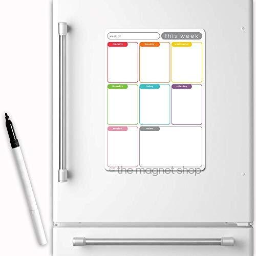 magnétique Planificateur Hebdomadaire par The Magnet SHOP - aimant pour réfrigérateur Calendrier pour maison, Bureau et cuisine