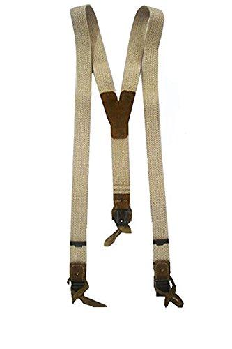 Hochwertige Trachten Hosenträger für Herren in beiger Leinenoptik 100cm
