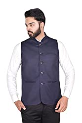 Wearza Mens Navy Blue Woven Cotton Blend Sleevless Rounded Bottom Nehru and Modi Jacket Ethnic Style For Party Wear, Sizes S-XXXL