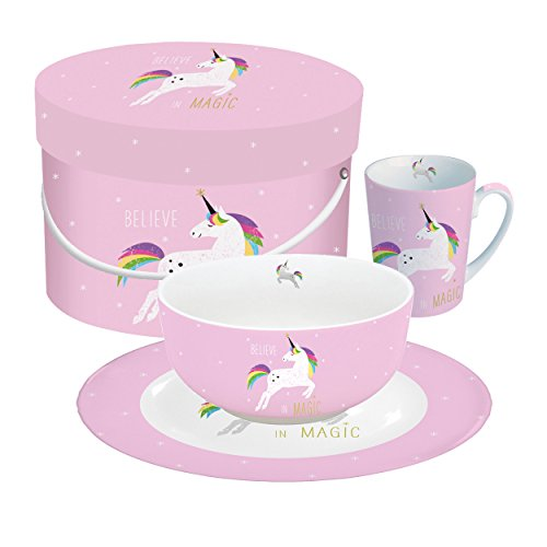 PPD Pink Unicorn Frühstücksset, Müslischale, Teller, Kaffee Becher, Frühstück, New Bone China,...