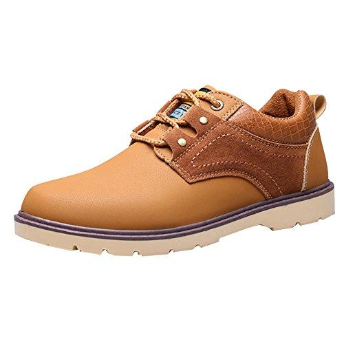 Scarpe Stringate Uomo Scarpe stivaletti Uomo Casual Invernali Sneakers Polacchine con Pelliccia Interna Giallo 43