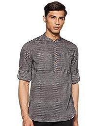 Manthan Men's Self Designed Grey Toned Short Kurta