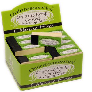 Quintessential Organic Hemp Coated Chlorine Free Smoking Filter Roach Tips - 50 Packs - 1 Full Box