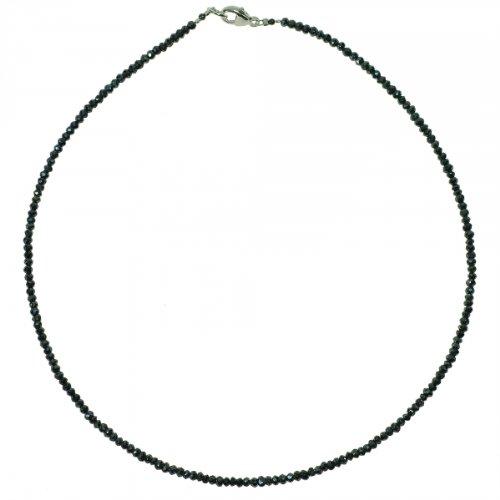Edelstein Kette schwarzer Spinell, 925oo Silber Karabiner, ca. 45.5 cm, Damen