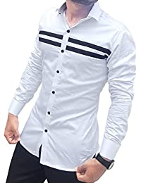 S.N. Men's Cotton Casual Long Sleeves Slim Fit Shirt