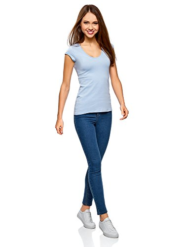 oodji Ultra Damen T-Shirt Basic Blau (7001N)