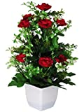 eMani Artificial Mini Valvet Rose Flower | Flower vase for Home Decoration | Flower Pot with Artificial Flowers…