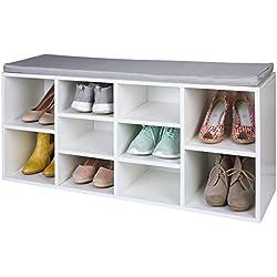 TRESKO® Armario Zapatero para 10 pares de zapatos con asiento, estantería con cojín lavable, estante para zapatos, banco para zapatos con cojín, aparador con asiento, banco con almacenamiento para el pasillo, el salón, el cuarto de baño o los zapatos, hecho de madera, blanco