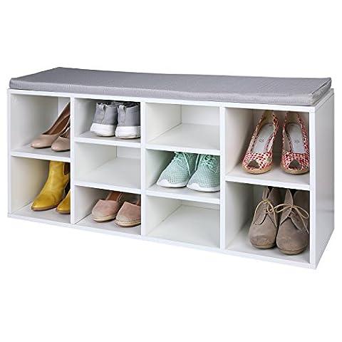 TRESKO® Schuhschrank für 10 Paar Schuhe mit Sitzgelegenheit / Sitzbank mit waschbarem Sitzkissen, Schuhregal, Schuhbank mit Sitzkissen, Sideboard mit Sitzfläche, Sitzbank mit Aufbewahrung für Flur, Diele, Wohnzimmer, Badezimmer oder für Schuhe, auch verwendbar als Bücherregal, aus Holz,