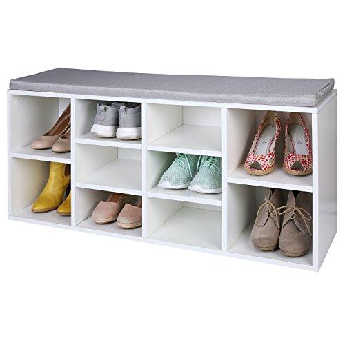 TRESKO® Schuhschrank für 10 Paar Schuhe mit Sitzgelegenheit / Sitzbank mit waschbarem Sitzkissen, Schuhregal, Schuhbank mit Sitzkissen, Sideboard mit Sitzfläche, Sitzbank mit Aufbewahrung für Flur, Diele, Wohnzimmer, Badezimmer oder für Schuhe, auch verwendbar als Bücherregal, aus Holz, weiß