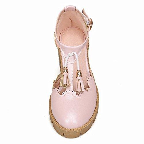 COOLCEPT Femmes Mode T-Strap Bout Ferme Sandales Doux Ecole Bloc Chaussures With Frange Rose