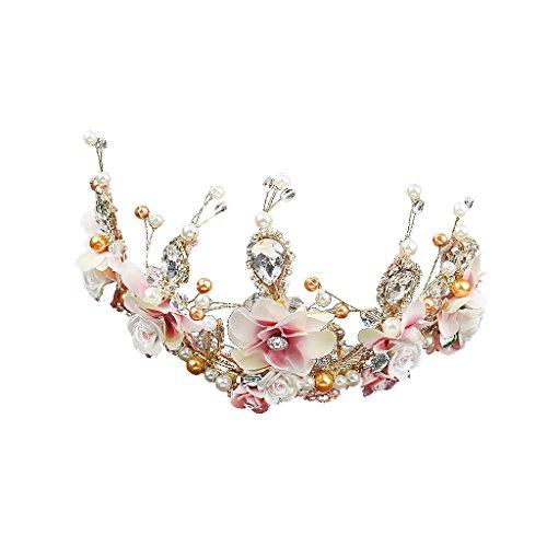 Nouveaux Bijoux De Mariage Mariée Set Céramique Perles Floraux Tiare Boucles D'oreilles