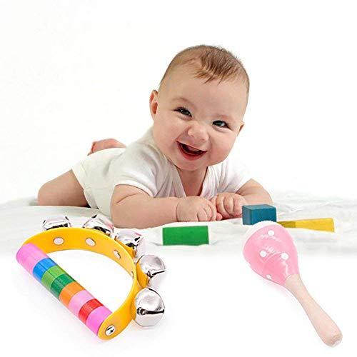 SPECOOL Handbell Cute Months Jugar Toy In Stroller Car Wooden Hand Shake Rattles Niño Sonajero Martillos de Arena Juguetes de Sonido