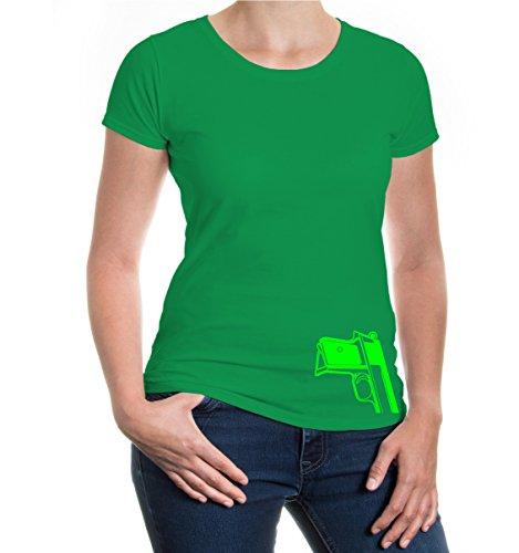 buXsbaum® Girlie T-Shirt Pocket pistol Kellygreen-Neongreen