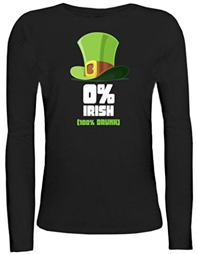Saint Patrick´s Day St. Patricks Day Damen Longsleeve Langarm T-Shirt mit 100% Drunk Motiv Schwarz