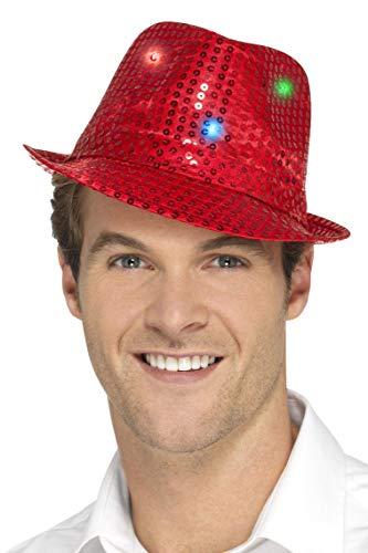Smiffys Sombrero de ala Corta con Luces y Lentejuelas, Rojo, con Luces LED multifunción