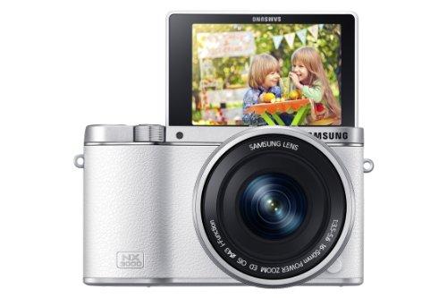 Samsung NX3000 Smart Systemkamera (20,3 Megapixel, 7,5 cm (3 Zoll) Display, Full HD Video, WiFi, NFC, Adobe Photoshop Lightroom 5, inkl. 16-50 mm OIS i-Function Power-Zoom-Objektiv) weiß (Kamera Samsung Nx)