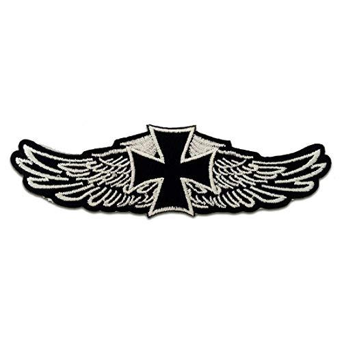 Aufnäher/Bügelbild - Chopper Kreuz Biker - schwarz - 12,2 x 3,9 cm - Patch Aufbügler Applikationen zum aufbügeln Applikation Patches Flicken