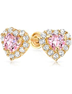 Bling Jewelry Gold 14K simulierten Pink Topas CZ Herzen Baby Schrauben Bolzen