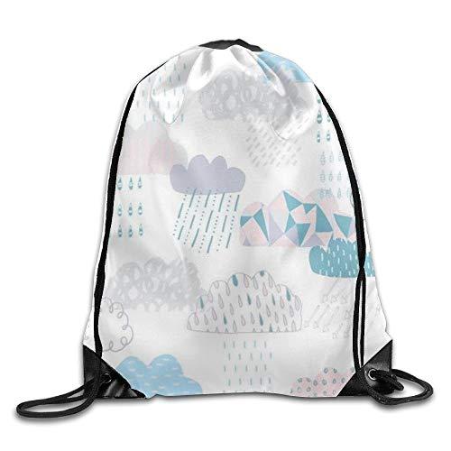uykjuykj Tunnelzug Rucksäcke, Cute Clouds Cool Teens Drawstring Backpack String Bags Gym Lightweight Unique 17x14 IN