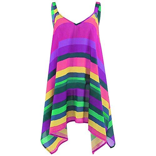 VEMOW Elegante Damen Damen Plus Size Streifen Pullover Bunte beiläufige Partei Lose ärmellose Unregelmäßige Schaukel Weste Tank Shirt Tops Bluse Pulli(Lila, EU-42/CN-S) (Lila Ski-weste)