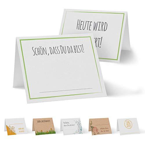 Partycards 50 Tischkarten/Platzkarten DIN A7 für Hochzeit, Geburtstag, Kommunion, Taufe (DIN A7, Rahmen Grün)