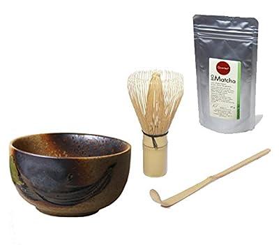Set d'accessoires à matcha japon bio 40 g poudre-zip en aluminium-pLUS-sac original japonaise bols 400 ml + porte-balai chasen matchabesen pLUS chashaku cuillère à matcha en bambou