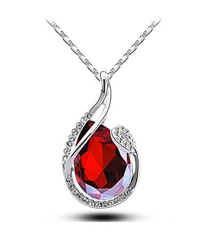 Celebrity Jewellery Autrichien Cristal Fashion Fantaisie Elegant Rubis Goutte d'eau Baisse Sparkly Pendentif Collier Femme Bijoux