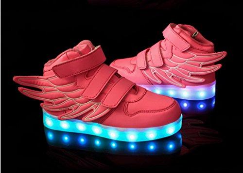 ACME LED Schuhe Sportschuhe Sneaker Turnschuhe mit USB Aufladen für kinder Jungen Mädchen - 1199 Rosa