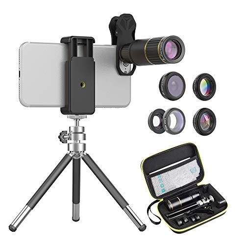 APEXEL 6 in 1-Kameraobjektiv-Kit,16X-Teleobjektiv+198°Fisheye-Objektiv+0,63X-Weitwinkel&15X-Makroobjektiv+Kaleidoskop+CPL-Filter mit ausziehbarem Stativ für iPhone Samsung und die meisten Smartphones