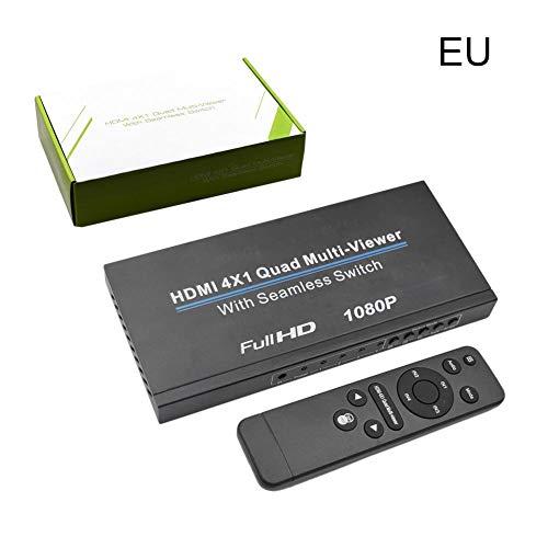 Miss-an Ultra HD HDMI 4x1 Quad-Multi-Viewer-Splitter mit Seamless Switcher Full HD 1080P IR-Steuerung Quad Switcher