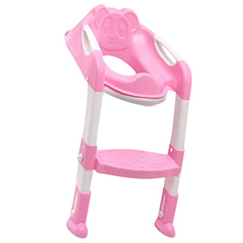 Baby Foldable Toddler Kids Potty Training Chair Toilet Ladder Seat Step Blue/Pink - pink, 35x30x17cm