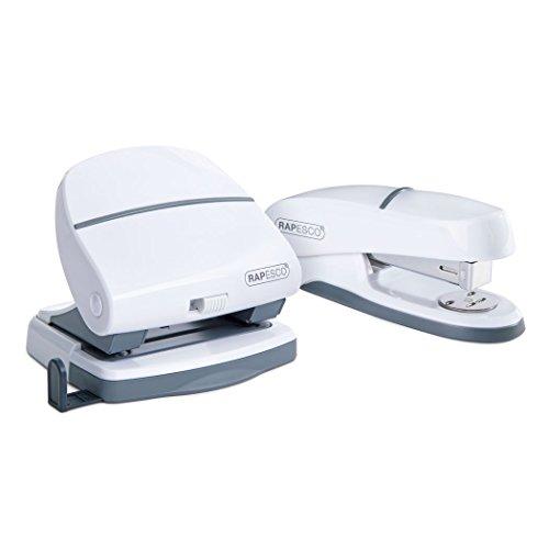 Rapesco 1275 Büroset mit P20 Halbstreifen Heftgerät und P30 2-fach Locher Weiß (Locher Set)
