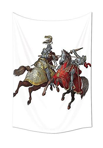 Mittelalter Decor Wandteppich für Middle Age Fighters Ritter mit antiken Kostüm Renaissance Arbeiten Schlafzimmer Wohnzimmer Wohnheim Decor Multi, multi, 59W By 90.5L Inch (Kostüme Für Männer Schlafzimmer)