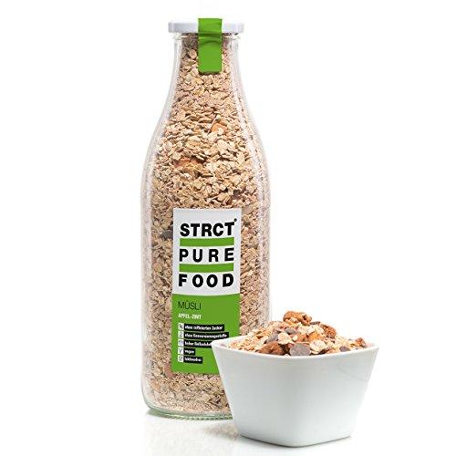 Strct Pure Food Apfel-Zimt-Müsli (520 g) - zuckerfrei, reich an Ballaststoffen, Hergestellt in Deutschland