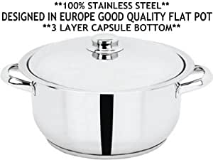 24cm x 14cm HEAVY DUTY 100% STAINLESS STEEL FLAT POT WITH 3 LAYER CAPSULE SANDWICH BOTTOM **FREE U.K POST** INDIAN CURRY COOKING FRYING PAN SAUCEPAN WOK KARAI KARAHI WITH LID