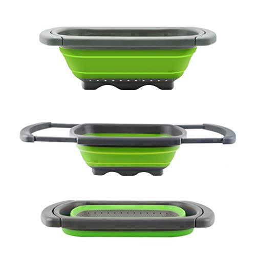 Colador plegable de Senter, para usar encima de fregadero, para vegetales y frutas, con asas extensibles, Verde, 39*26*4.2