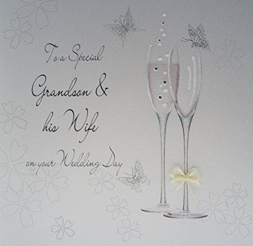 WHITE COTTON CARDS Code xbd83groß Champagene Flöten to A Special Grandson & His Wife On Your Wedding Day handgefertigt Hochzeit Karte - Grand Flöte