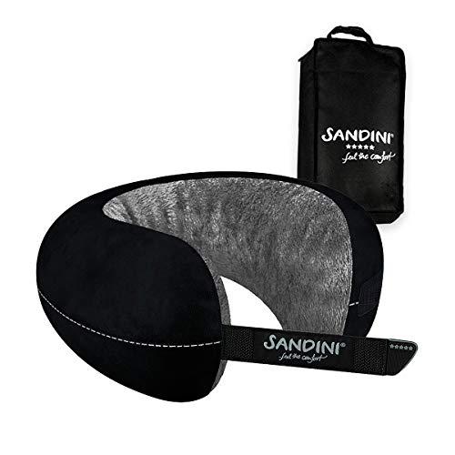 SANDINI TravelFix Regular Size - Plüsch - Premium Reisekissen Made in EU/Nackenkissen mit ergonomischer Stützfunktion - Gratis Transporttasche mit Befestigungs-Clip