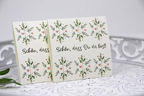 stgeschenk zur Hochzeit, Konfirmation, Kommunion, Taufe, Geburtstag inkl. Blumensamen - Tischkärtchen, Platzhalter, Give Away Flora & Eukalyptus - Schön, dass Du da bist! ()