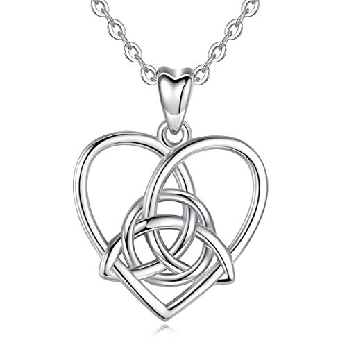 Irland Kostüm Schmuck - Eudora 925 Sterling Silber Irland Keltischer Dreifaltigkeit knoten Herzkette Vintage Anhänger Geschenk Halsketten für Frauen Damen, Kette Silber 45,7 cm