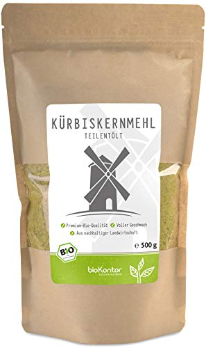 bioKontor // Kürbiskernmehl - teilentölt, glutenfrei, Protein, Eiweiß, low carb - 500 g - BIO