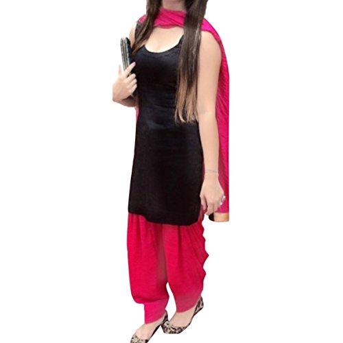 Fabini Daily Wear Pure Cotton Black & Pink Free Size Patiala Suit (Semi-stitched)
