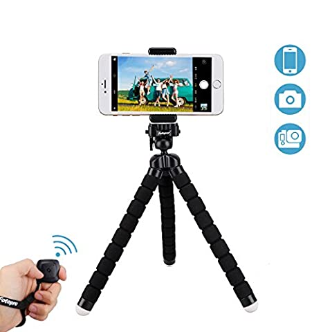 Handy Stativ mit Bluetooth Fernbedienung für iPhone, Samsung und weitere Smartphones, Kamera, Gopro(Längeres Modell)von