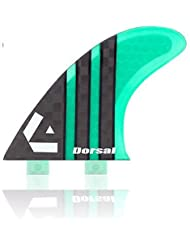 Dorsal Carbon (Hexcore) Thruster Surfboard Surf Fins (3) Honeycomb FCS Base Green