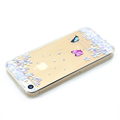 Coque iPhone 5s Silicone, LuckyW Housse Etui TPU Silicone Clear Clair Transparente Gel Slim Case pour Apple iPhone 5 5S SE Soft de Protection Cas Bumper Cover Converture Anti Poussières Couvercle Anti Papillon