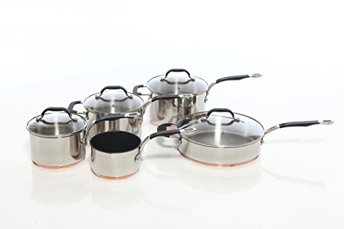 ProWare Copper Base Cookware Set of 5 (14cm milk pan 16cm, 18cm, 20cm saucepans and 26cm Saute)