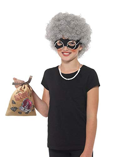 Fancy Dress World David Wallis Deluxe Gangsta Granny Instant Kit für Kinder, Grau, mit Perücke, Augenmaske, Tasche, Perlenkette und Brille – ideal für den Weltbuchtag 40202